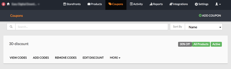 FastSpring Coupons section